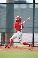 Philadelphia Phillies Roman Quinn (4) follows through on a swing during an Instructional League game against the Toronto Blue Jays on September 30, 2017 at the Carpenter Complex in Clearwater, Florida.  (Mike Janes/Four Seam Images)
