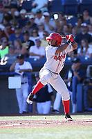 Yonny Hernandez (7) of the Spokane Indians bats against the Hillsboro Hops at Ron Tonkin Field on July 22, 2017 in Hillsboro, Oregon. Spokane defeated Hillsboro, 11-4. (Larry Goren/Four Seam Images)