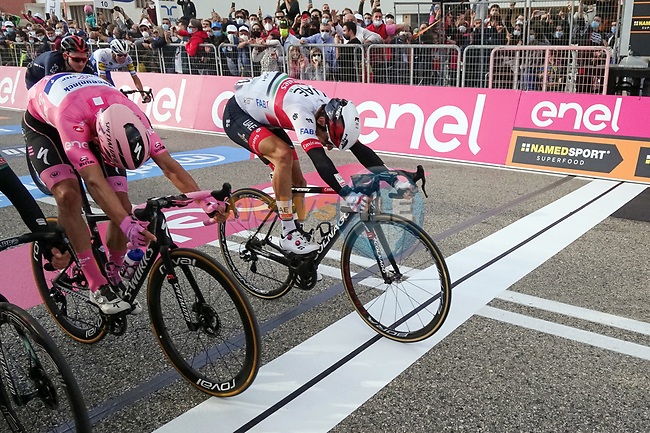 Diego Ulissi (ITA) UAE Team Emirates outsprints Maglia Rosa Joao Almeida (POR) Deceuninck-Quick Step and Patrick Konrad (AUT) Bora-Hansgrohe to win Stage 13 of the 103rd edition of the Giro d'Italia 2020 running 192km from Cervia to Monselice, Italy. 16th October 2020.  <br /> Picture: LaPresse/Massimo Paolone | Cyclefile<br /> <br /> All photos usage must carry mandatory copyright credit (© Cyclefile | LaPresse/Massimo Paolone)