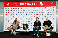 11th February 2021, Auckland, New Zealand;  Luna Rossa Prada Pirelli Team CEO Max Sirena (Italy), INEOS Team UK Skipper Sir Ben Ainslie (England) and Regatta Director Iain Murray. PRADA Cup Final Opening press conference at the PRADA media centre, America's Cup Race Village, Halsey Wharf, Auckland on Thursday 11th February 2021.