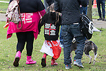 """© Joel Goodman - 07973 332324 .  07/02/2015 . Dudley , UK . A young girl wearing an EDL sweater reading """" English Defence League Next Generation Division """" and """" I'm safe the EDL are here """" . Approximately 500 EDL supporters march through Dudley town centre at an English Defence League demonstration in Dudley , in the West Midlands , this afternoon ( Saturday 7th February 2015 ). They oppose the building of a new mosque in Dudley . Photo credit : Joel Goodman"""