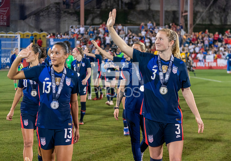 FRISCO, TX - MARCH 11: Sam Mewis #3 of the United States salutes the crowd during a game between Japan and USWNT at Toyota Stadium on March 11, 2020 in Frisco, Texas.