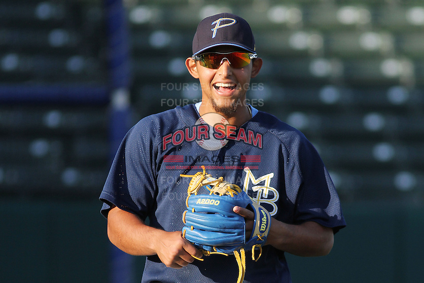 Myrtle Beach Pelicans second baseman Rougned Odor #24 during practice at Ticketreturn.com Field at Pelicans Park on April 2, 2012 in Myrtle Beach, South Carolina. Robert Gurganus/Four Seam Images)