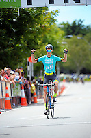 Australia's Mike Cuming (State Of Matter / MAAP) celebrates winning the NZ Cycle Classic stage five of the UCI Oceania Tour in Masterton, New Zealand on Saturday, 23 January 2016. Photo: Dave Lintott / lintottphoto.co.nz
