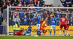 22.09.2019 St Johnstone v Rangers: Murray Davidson thinks his shot has crossed the goal line