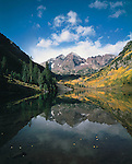 Maroon Bells Peaks and Maroon Lake in the fall, Aspen, Colorado, USA,