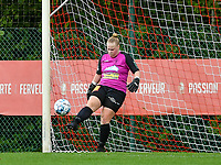 Estelle Loos (14) of Eendracht Aalst kicks the ball during a female soccer game between Standard Femina de Liege and Eendracht Aalst dames on the fourth matchday in the 2021 - 2022 season of the Belgian Scooore Womens Super League , Saturday 11 th of September 2021  in Angleur , Belgium . PHOTO SPORTPIX   BERNARD GILLET