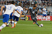 SAINT PAUL, MN - JULY 3: Emanuel Reynoso #10 of Minnesota United FC takes a shot during a game between San Jose Earthquakes and Minnesota United FC at Allianz Field on July 3, 2021 in Saint Paul, Minnesota.