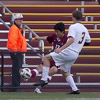 Harvard University forward Hiroki Kobayashi (17) passes the ball. Boston College defeated Harvard University, 2-0, at Newton Campus Field, October 11, 2011.