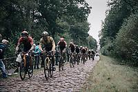 Dylan Groenewegen (NED/Jumbo-Visma) and Marco Haller (AUT/Bahrain - Victorious) coming through the Arenberg Forest / Trouée d'Arenberg / Bois de Wallers<br /> <br /> 118th Paris-Roubaix 2021 (1.UWT)<br /> One day race from Compiègne to Roubaix (FRA) (257.7km)<br /> <br /> ©kramon