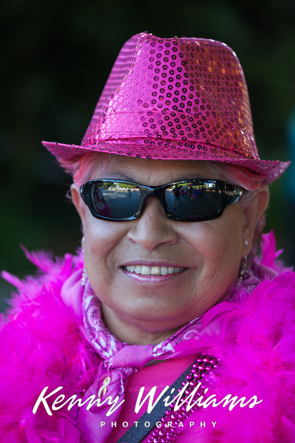 Cool Elderly African American Woman Wearing Pink Hat & Clothes, Komen Race for The Cure, Seattle, WA, USA.