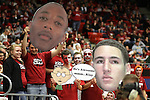 """Members of the ZZU CRU show off """"big heads"""" of Marcus Capers and Klay Thompson during the Cougars Pac-10 conference game with the Wildcats at Friel Court at Beasley Coliseum in Pullman, Washington, on January 22, 2011."""