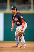 Peoria Chiefs first baseman Alex De Leon (34) during a game against the Lansing Lugnuts on June 6, 2015 at Cooley Law School Stadium in Lansing, Michigan.  Lansing defeated Peoria 6-2.  (Mike Janes/Four Seam Images)