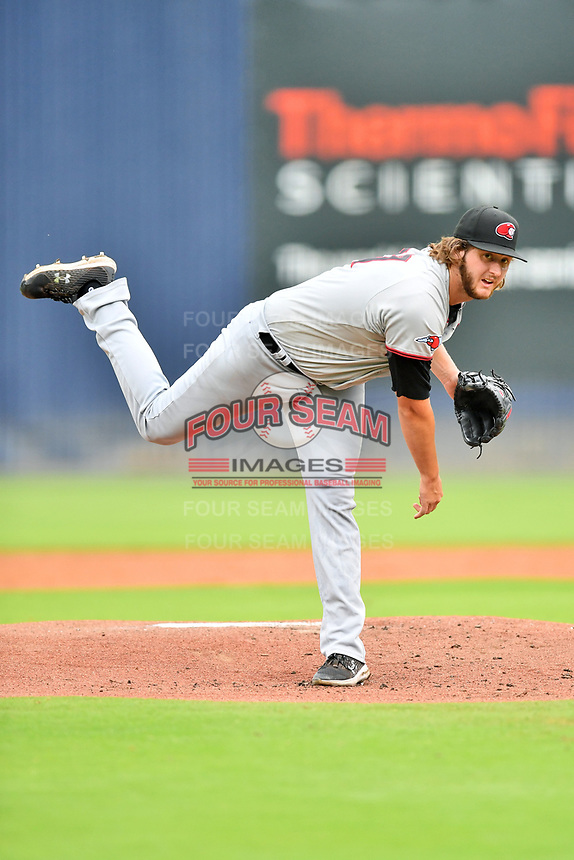 Hickory Crawdads starting pitcher Justin Slaten (27) delivers a pitch during a game against the Asheville Tourists on July 20, 2021 at McCormick Field in Asheville, NC. (Tony Farlow/Four Seam Images)