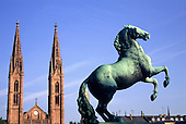 Wiesbaden, Frankfurt, Germany. Statue of a horse in front of the Bonifatius church.