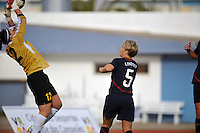 US Women's National Team midfielder, #5 Lori Lindsey, watches Iceland goalie #1 Thora Helgadottir make a save during a match in Vila Real Sto. Antonio at the 2010 Algarve Cup in Portugal.