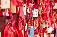 Nanjing, Jiangsu, China.  Prayers for Good Luck, Niushou Mountain Buddhist Ashram.