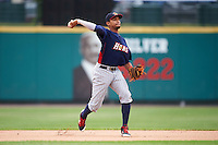 Toledo Mudhens shortstop Dixon Machado (6) throws to first base during a game against the Rochester Red Wings on June 12, 2016 at Frontier Field in Rochester, New York.  Rochester defeated Toledo 9-7.  (Mike Janes/Four Seam Images)