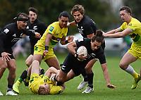 22nd May 2021; Grammar Tec, Auckland New Zealand; All Blacks Sevens versus Australia, Trans-Tasman Sevens;  Brady Rush is brought down