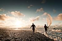 Whitebating at the estuary where the Okarito Lagoon meets the Tasman Sea, Westland National Park, West Coast, New Zealand