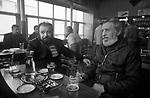 Ullapool Scotland. 1986. Bulgarian factory fishermen in the Seaforth Hotel bar.