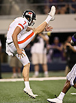 Oregon State Beavers punter Johnny Hekker #7 punting the ball during the game between the Oregon State Beavers and the TCU Horned Frogs at the Cowboy Stadium in Arlington,Texas. TCU defeated Oregon State 30-21.