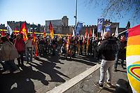 Rome, Italy. 03rd March, 2021. Today, Alitalia, air transport and related workers, led by USB (1.) and CUB Trasporti Trade Unions, held a protest outside the Ministry of Transport (MIT) – near Porta Pia – against the plan to dismantle the flag carrier of Italy and to lay-off the majority of the workers of the Italian historical air company.<br /> <br /> Footnotes & Links:<br /> 1. https://www.usb.it/leggi-notizia/altro-che-rilancio-alitalia-il-governo-prepara-un-nuovo-bagno-di-sangue-usb-difendere-ogni-lavoratore-mercoledi-3-tutti-a-porta-pia-1119-1-4.html