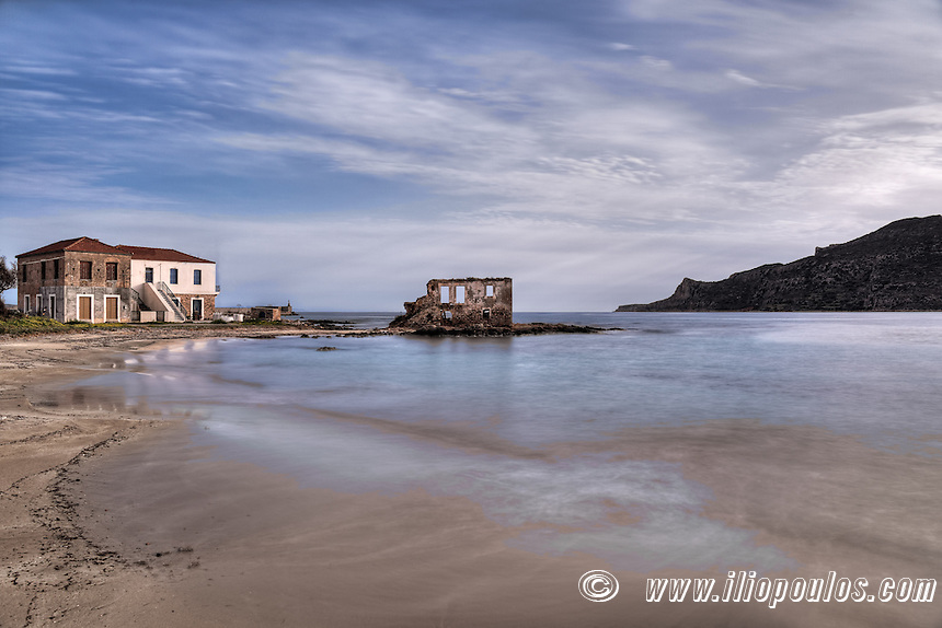 The ruins of a house in the middle of the sea in the village Plytra in the Southern Peloponnese, Greece