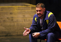 "Pictured: Actor Simon Nehan<br /> Re: Press rehearsal of ""We'Re Still Here"", a play created by Rachel Trezise, Common Wealth and the National Theatre Wales about steelworkers, which will be performed in Byass Works, a disused industrial unit, in Port Talbot, south Wales, UK."
