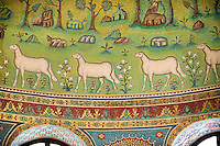 Mosaics of sheep on the Apse of the 6th century AD Byzantine Roman Mosaics of the Basilica of Sant'Apollinare in Classe, Ravenna Italy