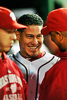 6 September 2011: Washington Nationals catcher Wilson Ramos smiles in the dugout during a game against the Los Angeles Dodgers at Nationals Park in Washington, District of Columbia. The Dodgers defeated the Nationals 7-3 to take the second game of their 4-game series. Mandatory Credit: Ed Wolfstein Photo
