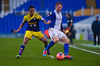 Saturday 25 January 2014<br /> Pictured: ( L-R )  Neil Taylor and Chris Burke  of of Birmingham City <br /> Re: Birmingham City v Swansea City FA Cup fourth round match at St. Andrew's Birimingham