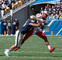 Pitt linebacker Shane Gordon (44) hits New Mexico quarterback Clayton Mitchem (12) after the throw.The Pitt Panthers defeated the New Mexico Lobos 49-27 on Saturday, September 14, 2013 at Heinz Field, Pittsburgh, Pennsylvania.