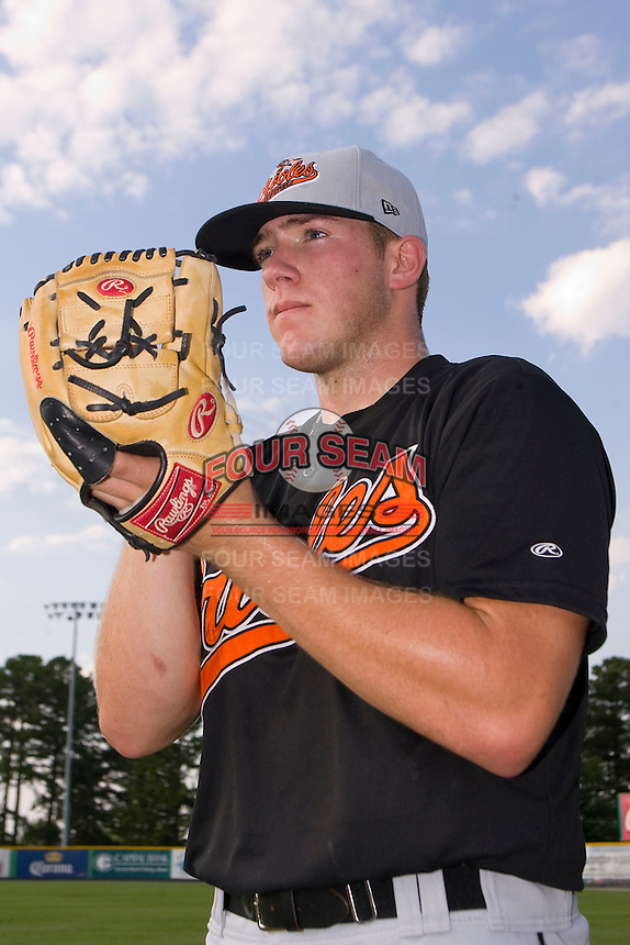 Bluefield Orioles pitcher Matt Hobgood #34 at Burlington Athletic Park June 30, 2009 in Burlington, North Carolina.  Hobgood was selected in the first round, 5th overall, by the Baltimore Orioles in the 2009 Draft.  (Photo by Brian Westerholt / Four Seam Images)