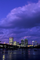 Richmond, skyline, VA, Virginia, Skyline of downtown Richmond at night. Manchester Bridge spans the James River.