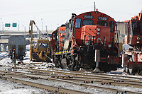 February 23, 2014 - CN crew onsite of a Train derailment in St-Henri burrough of Montreal which spilled over 3000 litres  of diesel  fuel.