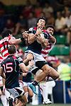 Kam Shing of Hong Kong (C) in action during the Asia Rugby Championship 2017 match between Hong Kong and Japan on May 13, 2017 in Hong Kong, Hong Kong. (Photo by Cris Wong / Power Sport Images)