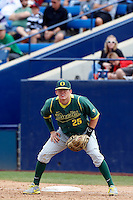 Ryon Healy #25 of the Oregon Ducks during a game against the Cal State Fullerton Titans at Goodwin Field on March 3, 2013 in Fullerton, California. (Larry Goren/Four Seam Images)