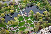 Public Garden, aerial view, springtime, Boston, MA