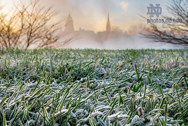 November 12, 2020; Frosty grass near St. Joseph Lake (Photo by Matt Cashore/University of Notre Dame)