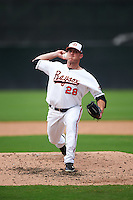 Bowie Baysox relief pitcher Bobby Bundy (28) during the second game of a doubleheader against the Akron RubberDucks on June 5, 2016 at Prince George's Stadium in Bowie, Maryland.  Bowie defeated Akron 12-7.  (Mike Janes/Four Seam Images)