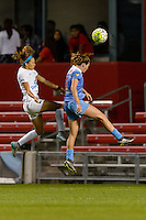 Chicago, IL - Saturday July 30, 2016: Shea Groom, Arin Gilliland during a regular season National Women's Soccer League (NWSL) match between the Chicago Red Stars and FC Kansas City at Toyota Park.