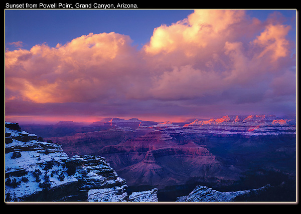 Before I added foreground to my compositions, I'd stand at the edge of the cliff. If I got lucky and there was a spectacular sunrise or sunset, I got a good image. Unfortunately, this is a low probability way of making imagery. Especially. if no one wants to wait with you.<br /> Winter sunset at the Grand Canyon, Arizona, USA.