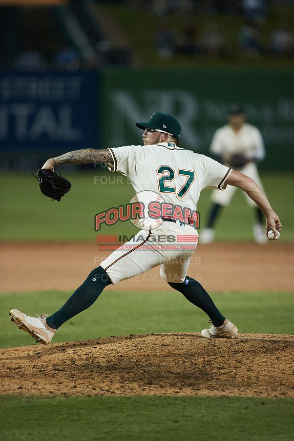 Greensboro Grasshoppers relief pitcher Austin Roberts (27) in action against the Wilmington Blue Rocks at First National Bank Field on May 25, 2021 in Greensboro, North Carolina. (Brian Westerholt/Four Seam Images)