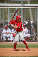Philadelphia Phillies Micah Yonamine (18) bats during an exhibition game against the Canada Junior National Team on March 11, 2020 at Baseball City in St. Petersburg, Florida.  (Mike Janes/Four Seam Images)