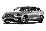 Stock pictures of low aggressive front three quarter view of a 2020 Volvo V60 Inscription 5 Door Wagon