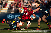 Whetukamokamo Douglas is tackled during the 2020 Super Rugby match between the Crusaders and Highlanders at Orangetheory Stadium in Christchurch, New Zealand on Saturday, 9 August 2020. Photo: Joe Johnson / lintottphoto.co.nz