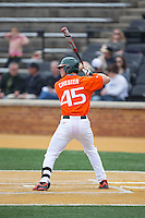 Carl Chester (45) of the Miami Hurricanes at bat against the Wake Forest Demon Deacons at Wake Forest Baseball Park on March 22, 2015 in Winston-Salem, North Carolina.  The Demon Deacons defeated the Hurricanes 10-4.  (Brian Westerholt/Four Seam Images)