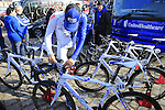 United Healthcare team Wilier bikes lined up outside the team bus at sign on before the start of the 113th edition of the Paris-Roubaix 2015 cycle race held over the cobbled roads of Northern France. 12th April 2015.<br /> Photo: Eoin Clarke www.newsfile.ie