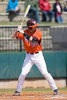 Steve Domecus #26 of the Virginia Tech Hokies at bat against the Wake Forest Demon Deacons at English Field March 27, 2010, in Blacksburg, Virginia.  Photo by Brian Westerholt / Four Seam Images